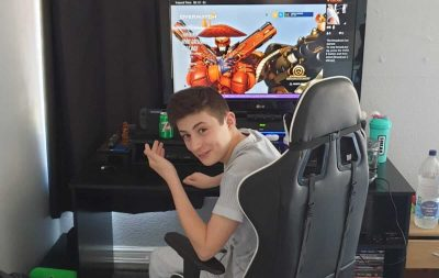 Kai Watts sat at his computer ready to start gaming marathon in aid of Primrose Hospice