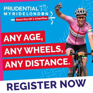 Woman cycling in My Prudential RideLondon in aid of Primrose Hospice