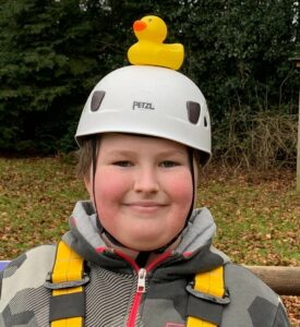 Jaidon has been supported by Primrose Hospice and has a yellow duck on his head to promote Yellow Week